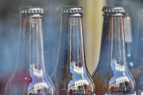 beer, beer glass, brown, glass, reflection, beverage, container, drink, bottle, full