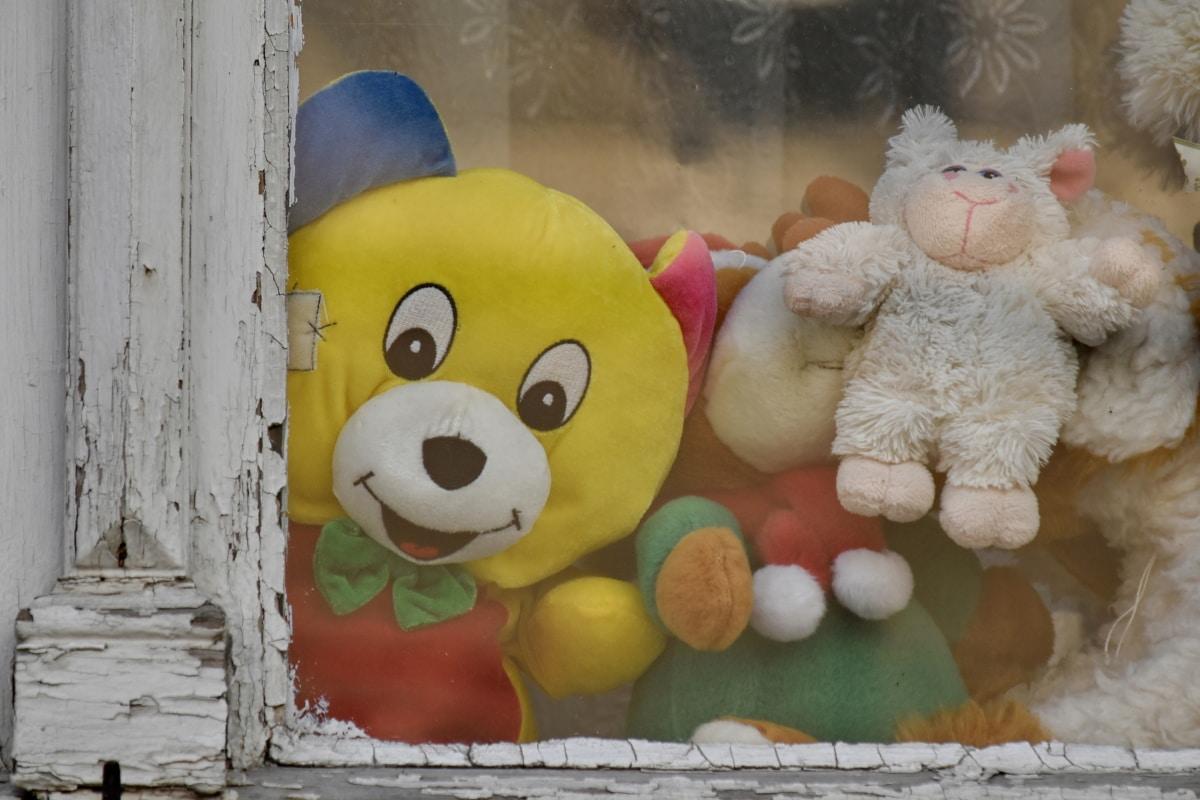 oyuncaklar, pencere, oyuncak ayı oyuncak, oyuncak, şirin, eğlenceli, Bebek, ahşap, Bez Bebek, komik
