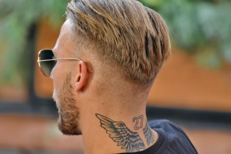 blonde hair, man, neck, tattoo, handsome, side view, portrait, beard, outdoors, fashion