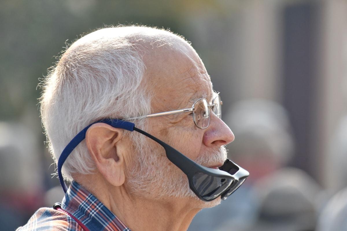 γενειάδα, ηλικιωμένοι, γυαλιά οράσεως, άνθρωπος, συνταξιούχος, πορτρέτο, Πλάγια όψη, γυαλιά ηλίου, άτομα, για ηλικιωμένους