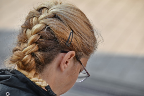 blonde hair, ear, eyeglasses, face, hairstyle, side view, hairdresser, woman, hair, people