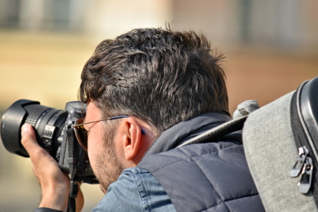 camera, holding, paparazzi, photographer, photography, lens, man, leisure, people, journalist