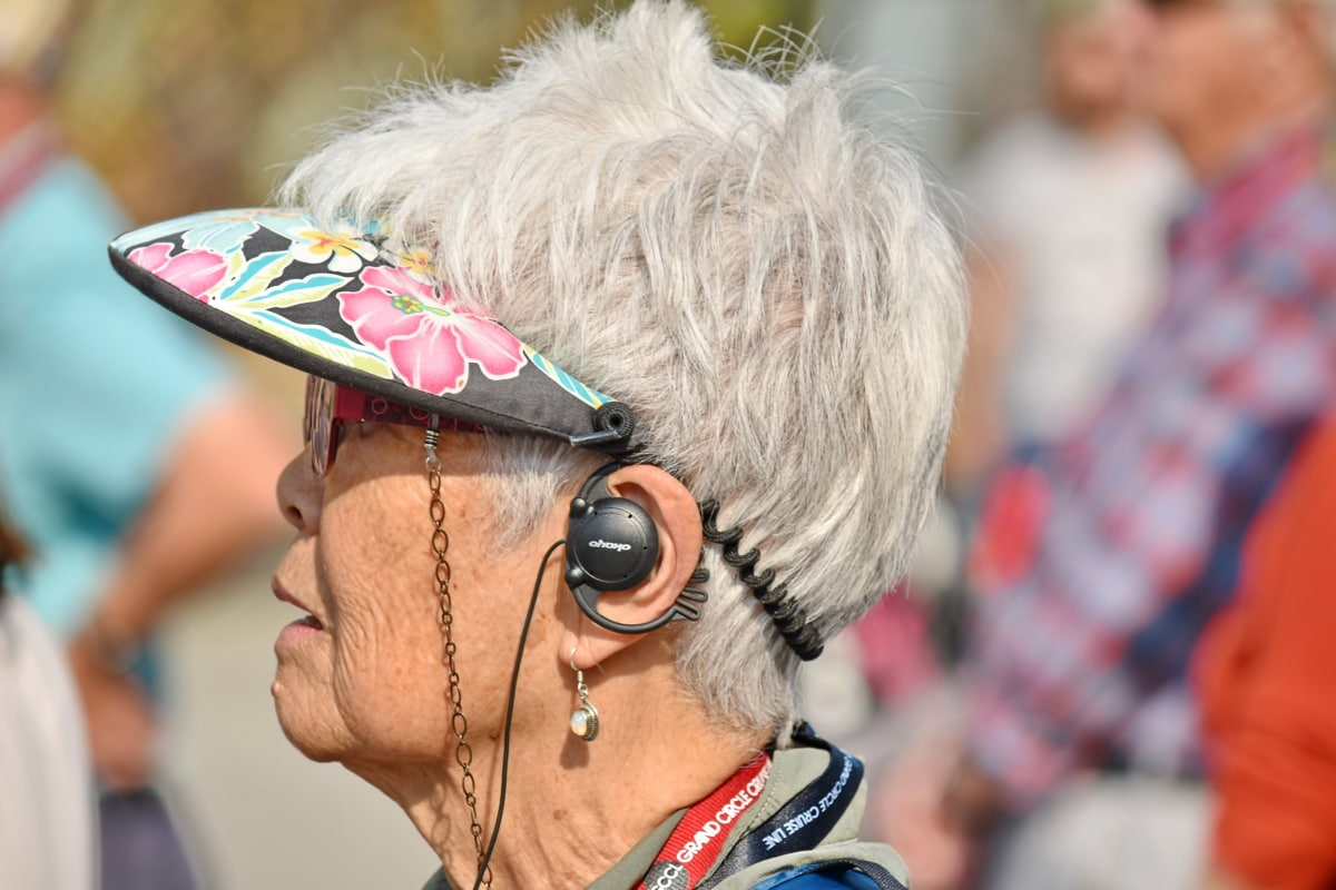 elderly, eyeglasses, hairstyle, pensioner, side view, woman, festival, people, celebration, street