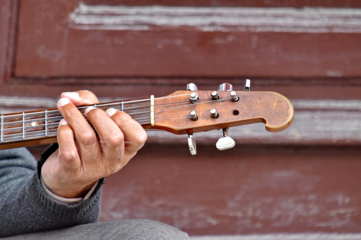 akustisk, fingeren, gitar, gitarist, hånd, instrumentet, lyd, enheten, musikalske, musiker