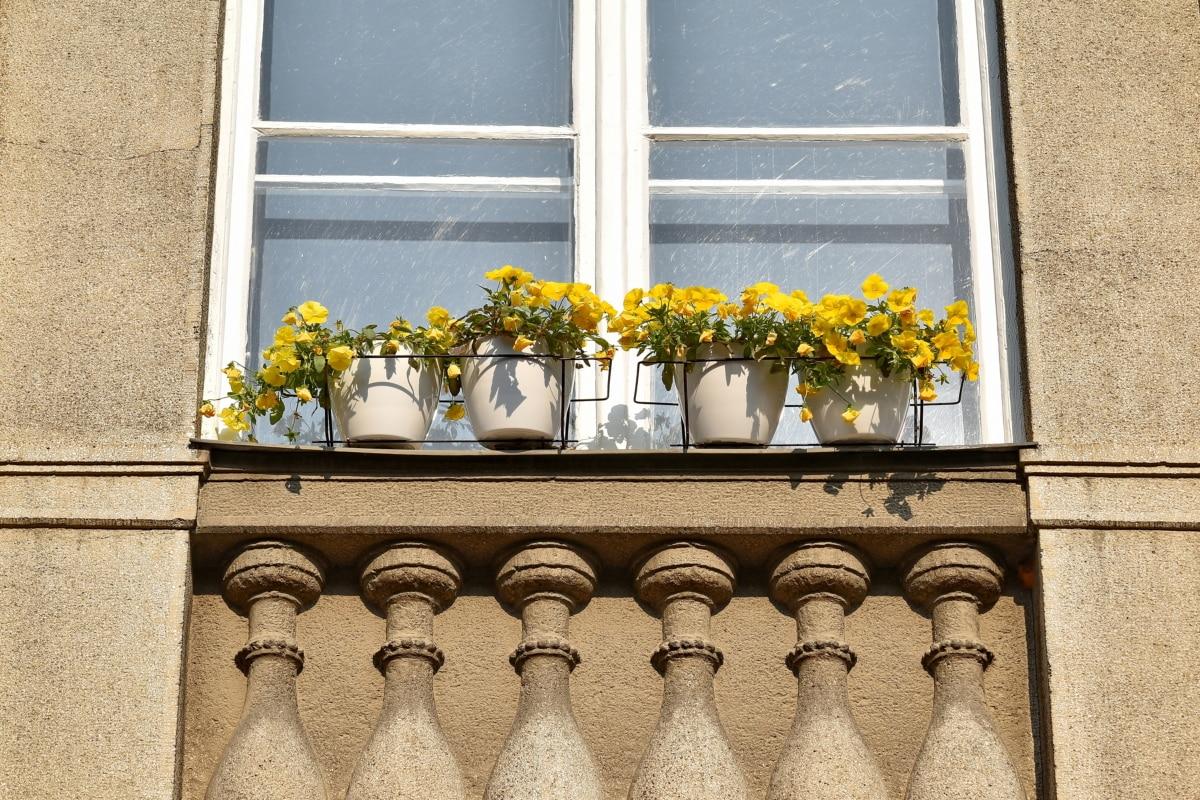 erkély, beton, dekoráció, homlokzat, virágcserép, városi terület, ablak, építészet, utca, Könyöklő