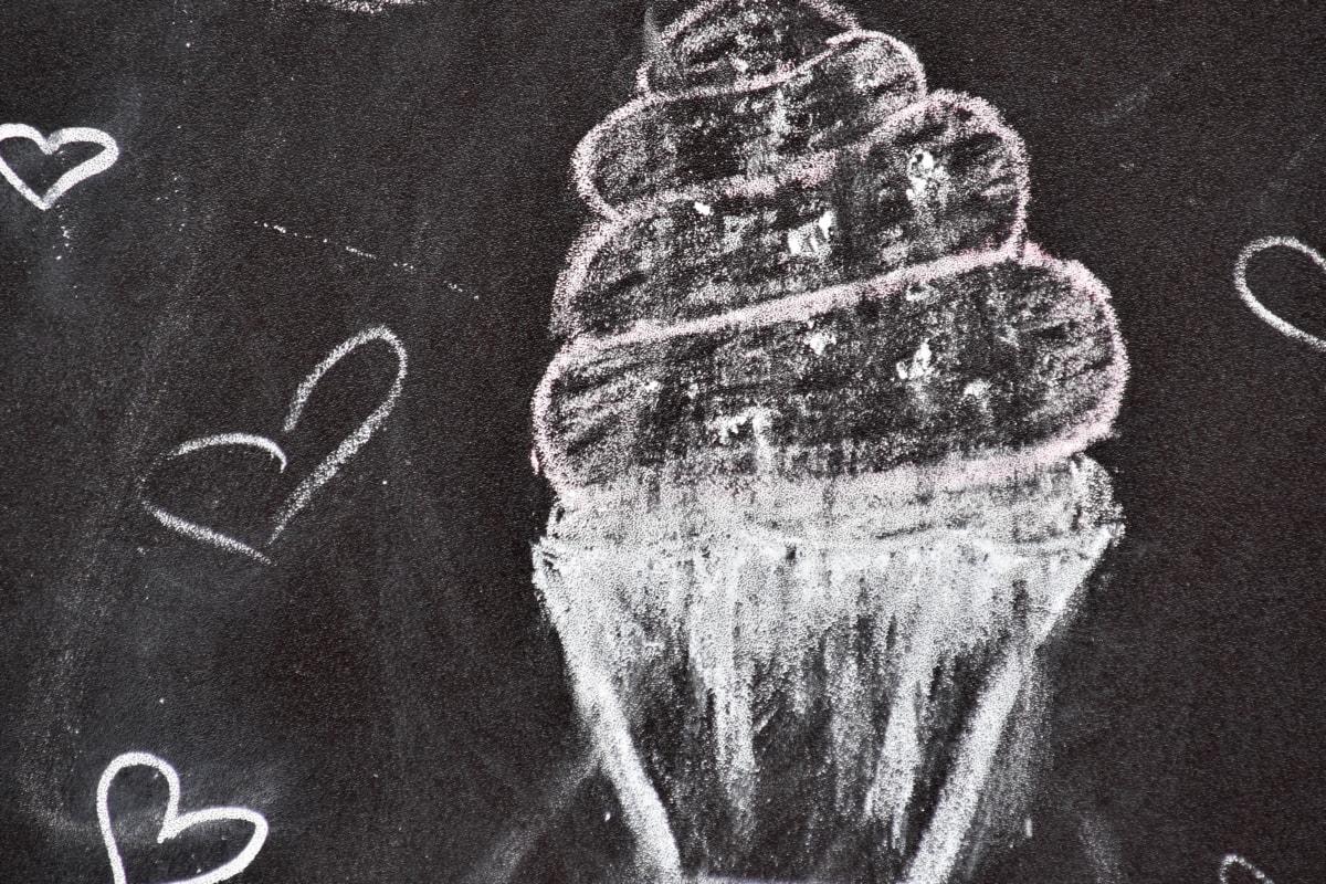 noir et blanc, tirage au sort, coeurs, crème glacée, Tableau noir, craie, écriture, éducation, créativité, texture