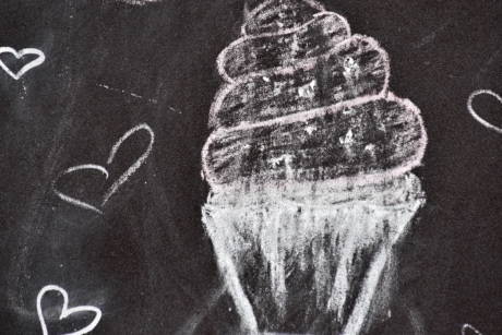 black and white, draw, hearts, ice cream, blackboard, chalk, writing, education, creativity, texture