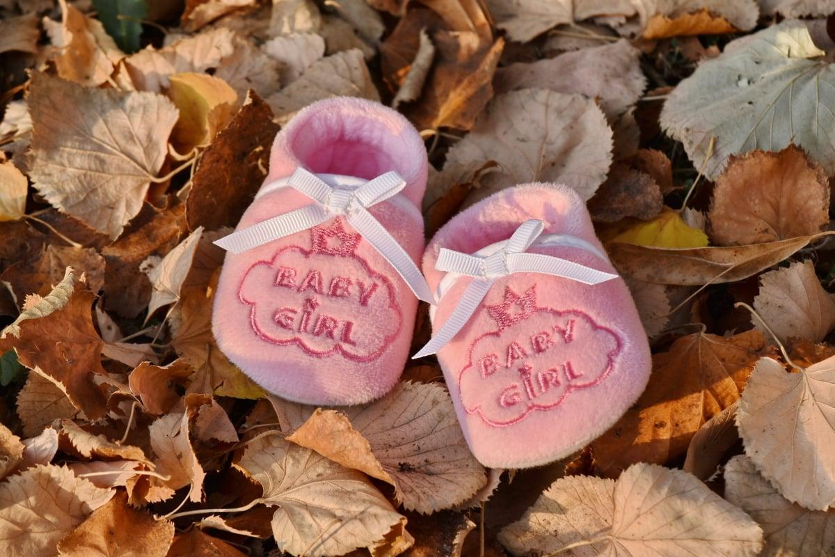sezon jesień, dziecko, Obuwie, miniaturowe, różowawy, buty, małe, liść, Natura, na zewnątrz