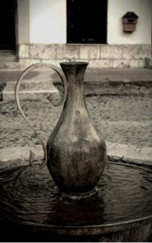fuente, florero de, agua, lanzador, monocromo, envase, vendimia, blanco y negro, antiguo, arte