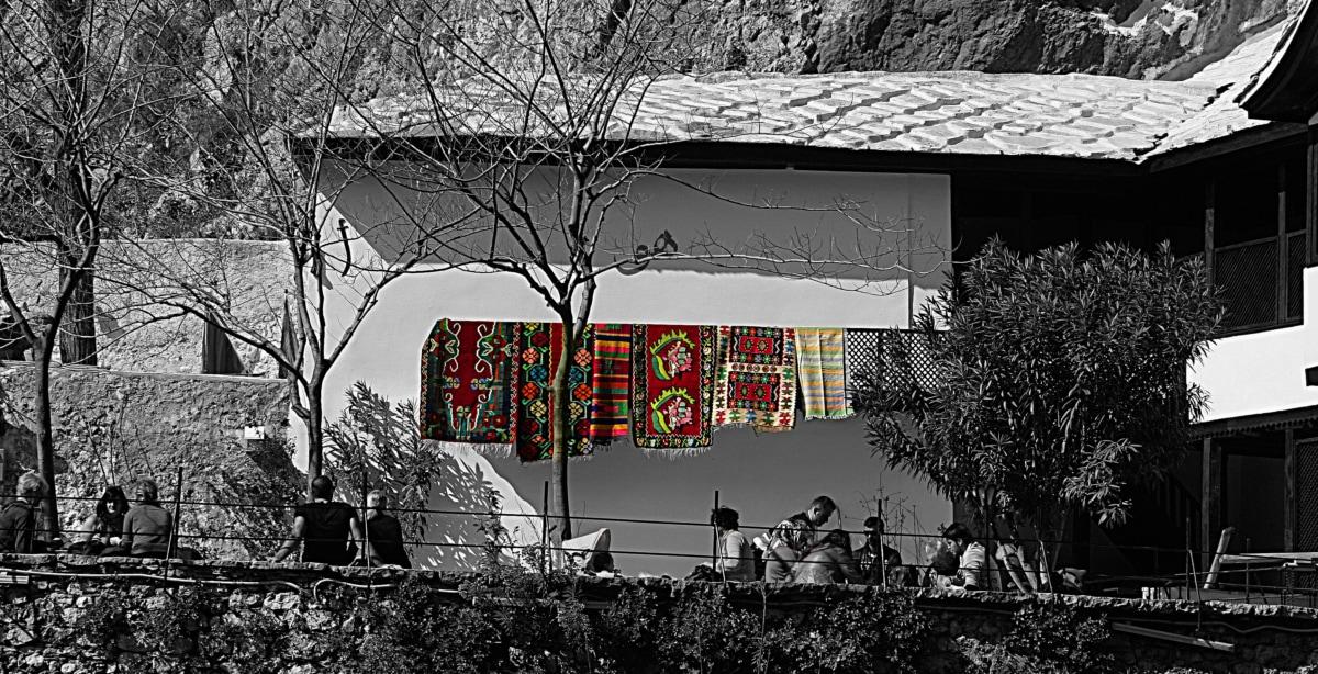черный и белый, ковер, ручной работы, Фотомонтаж, Структура, люди, Группа, дом, дом, дерево