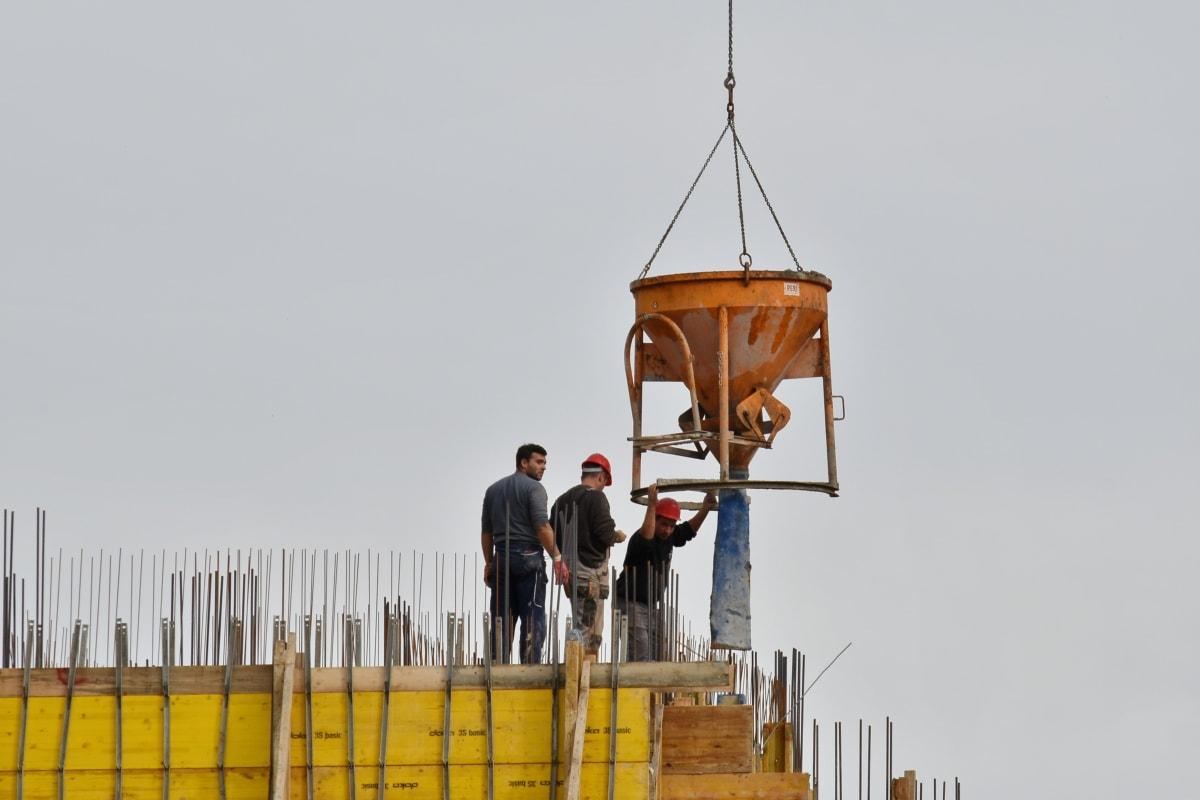 zgrada, beton, građevinski radnik, opasnost, radnici, rad, radnik, dizalica, industrija, industrijsko