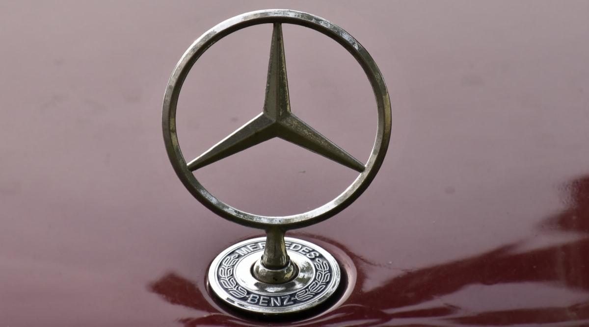 car, chrome, german, metal, metallic, reflection, sign, shining, light, still life