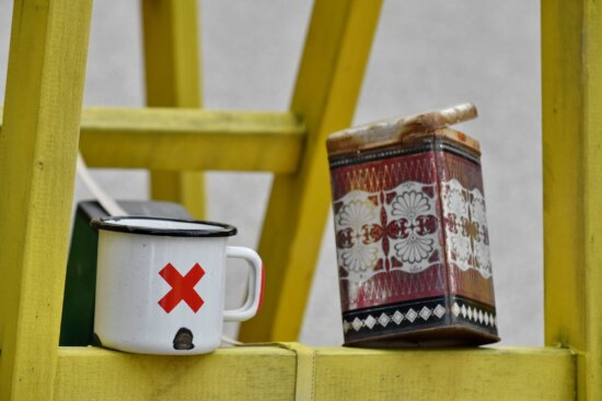 coffee cup, ladder, leader, mug, object, old, container, wood, traditional, retro