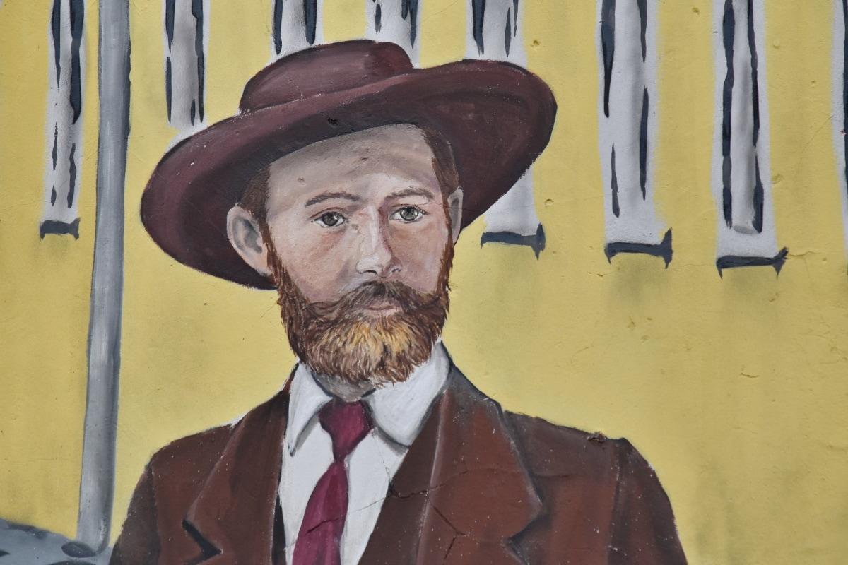 Cowboy, Graffiti, Mann, Porträt, Menschen, Hut, Schnurrbart, Malerei, Jacke, Kunst