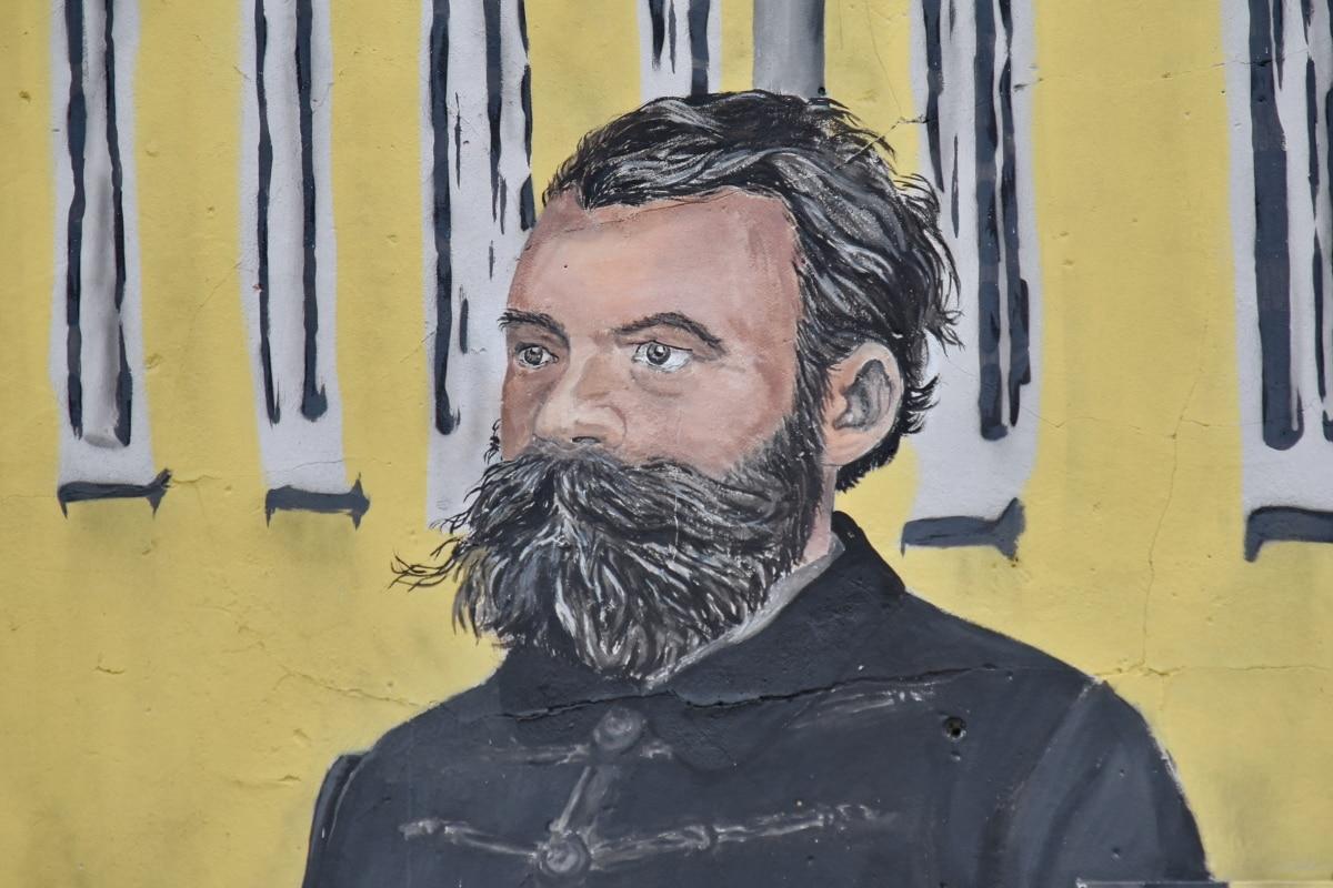 brada, grafiti, čovjek, portret, sa strane, ulica, urbano, slika, umjetnost, zid