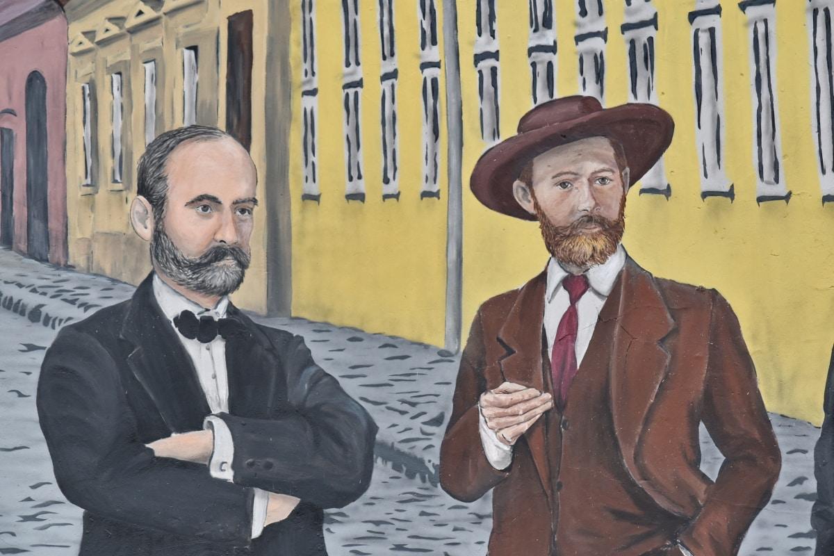 uomo d'affari, businessperson, Graffiti, tuta, persone, uomo, verticale, giacca, baffi, Capispalla