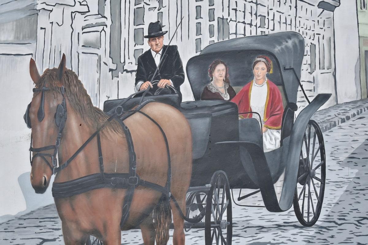 graffiti, szállítás, kosár, lovasság, idősek, ló, ember, tag, szabadban, emberek