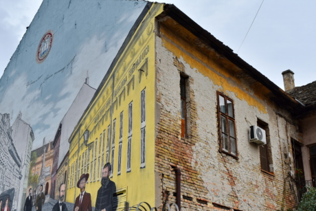 abandoned, facade, graffiti, house, ruin, Serbia, building, architecture, street, town