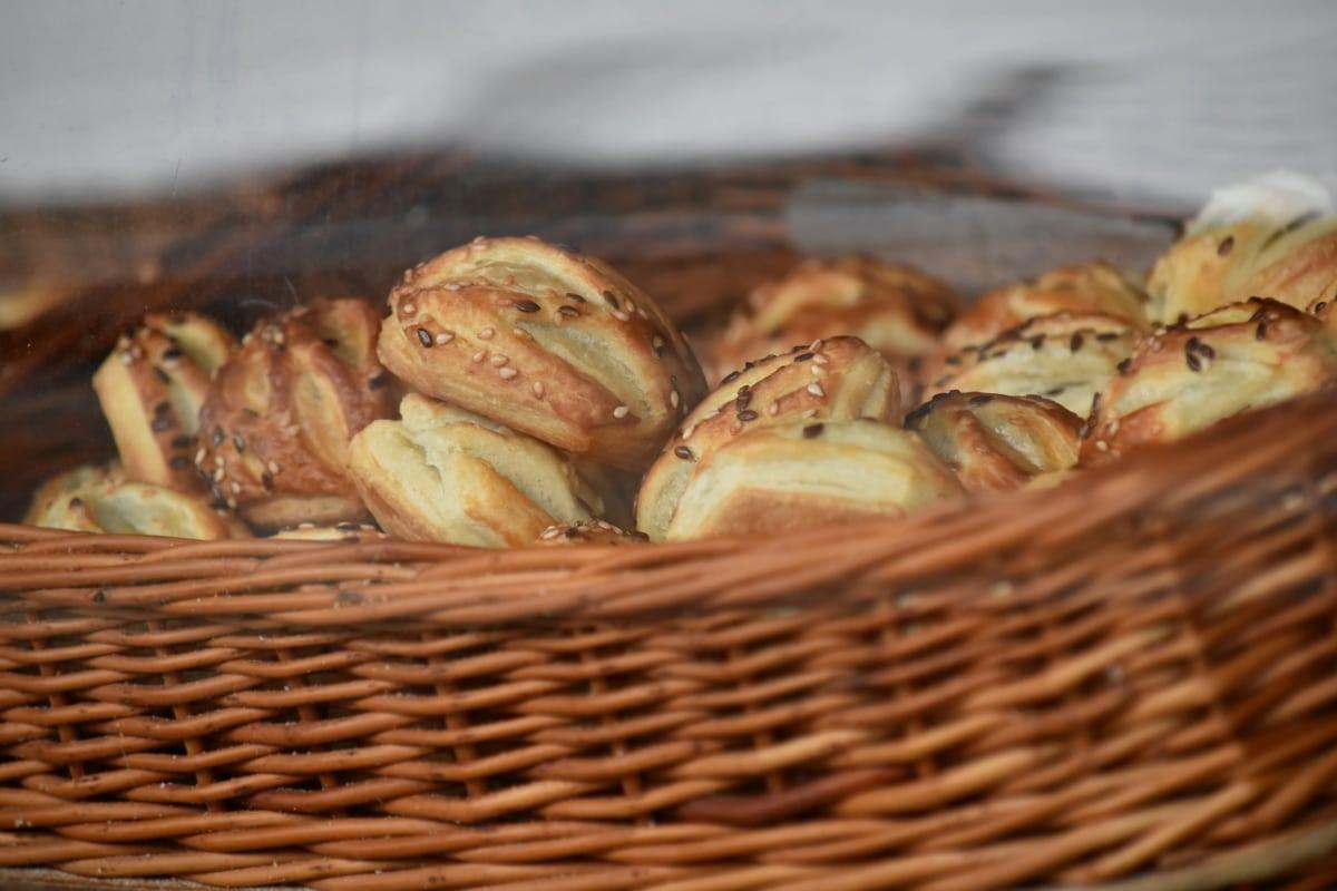 pekarski proizvod, hrana, domaće, košara od pruća, ukusno, košara, tradicionalno, drvo, šiblje, pečenje