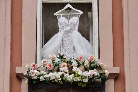 balcony, ceremony, decoration, dress, wedding, window, structure, flower, love, marriage