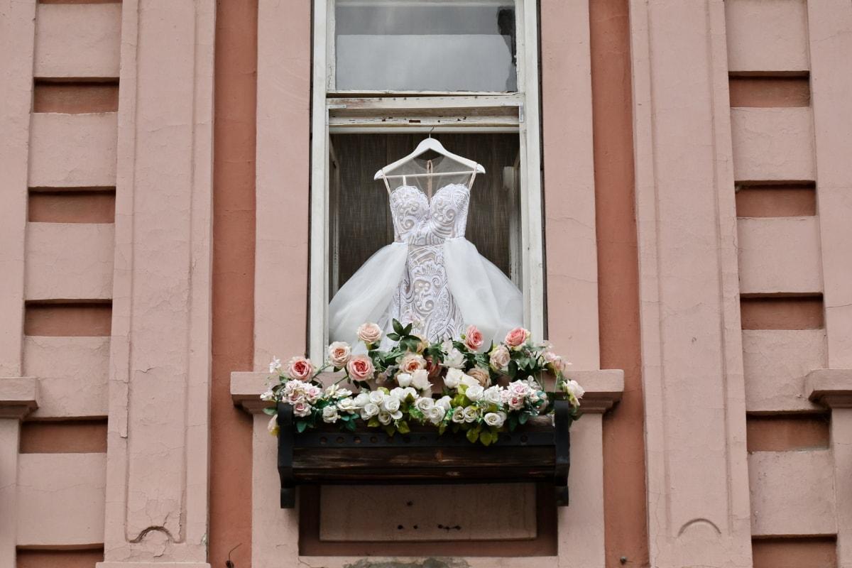 kjole, romantisk, bryllup, vinduet, struktur, vinduspost, arkitektur, blomst, utendørs, huset