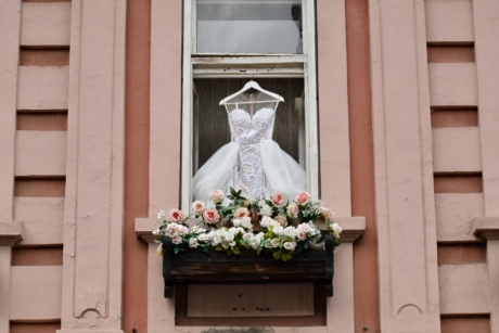dress, romantic, wedding, window, structure, sill, architecture, flower, outdoors, house