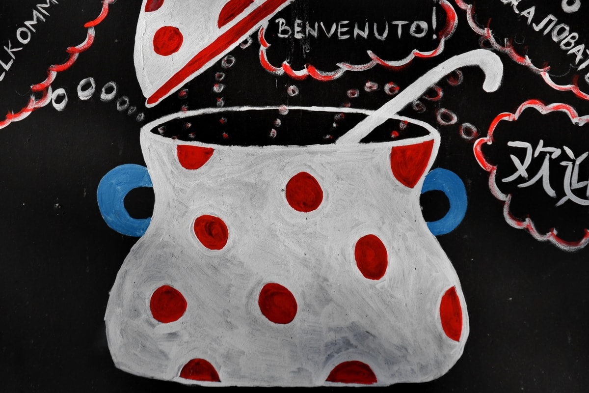 colorful, cookware, graffiti, text, illustration, art, design, retro, abstract, texture