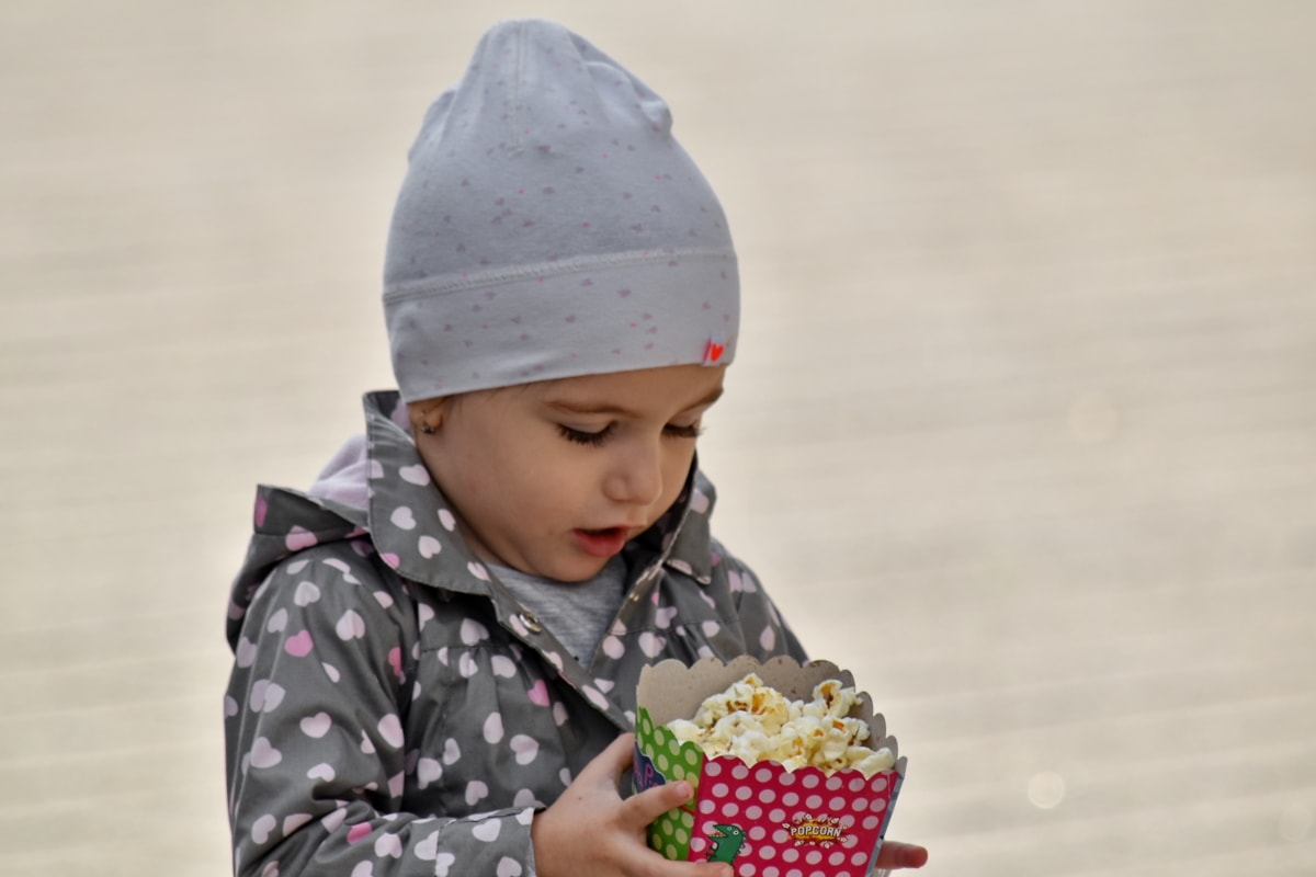 child, happiness, popcorn, hat, winter, cute, fun, outdoors, innocence, nature