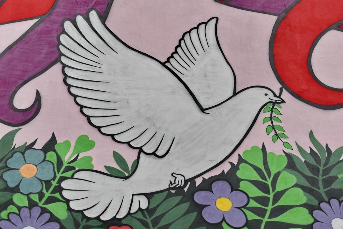 decoración, diseño, flores, Graffiti, Paloma, pared, hoja, naturaleza, arte, Ilustración