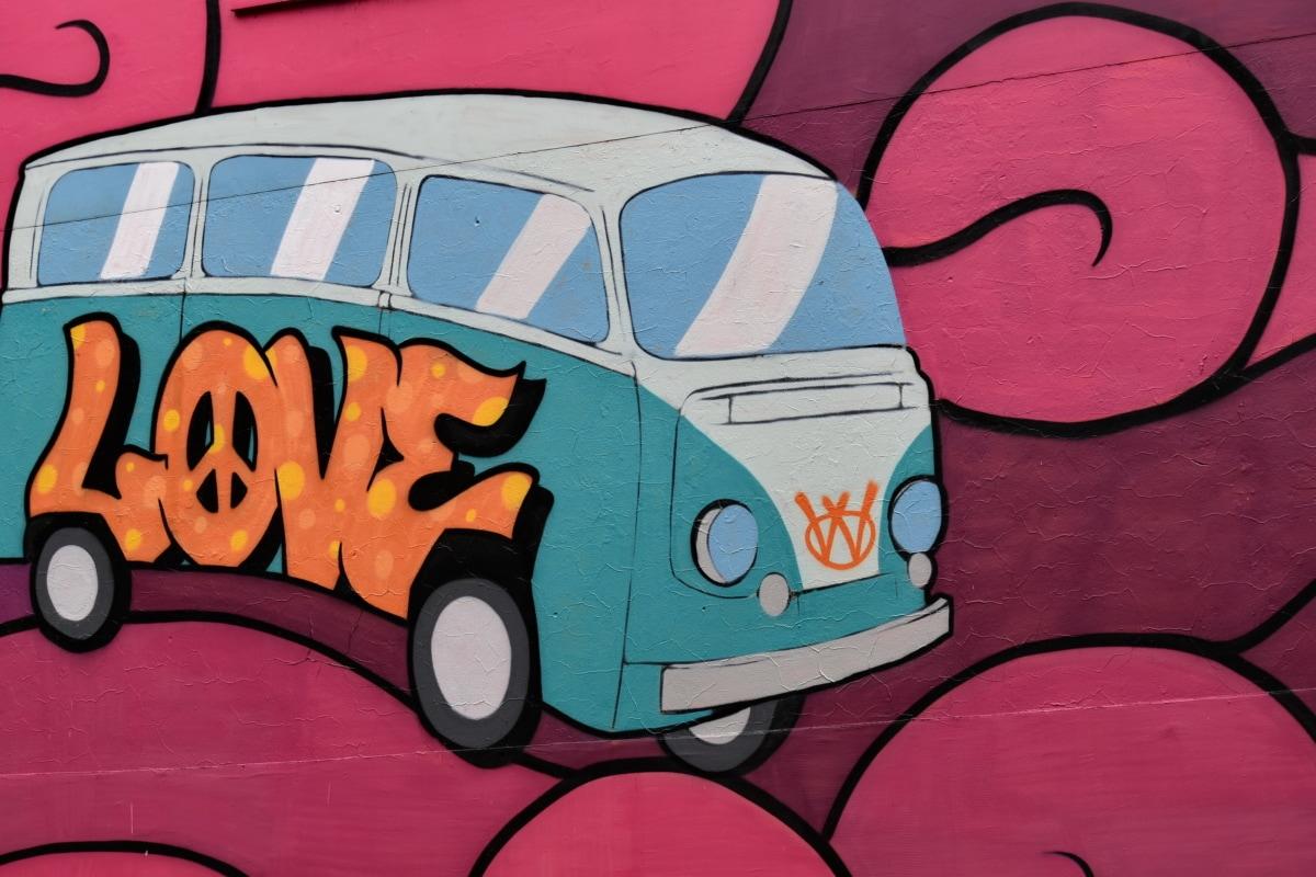colorful, decoration, graffiti, love, sketch, text, vector, wall, car, camper