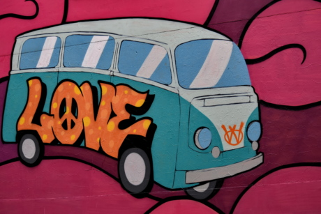 Camping-car, voiture, coloré, dessin, Graffiti, illustration, Visual, mur, transport, véhicule