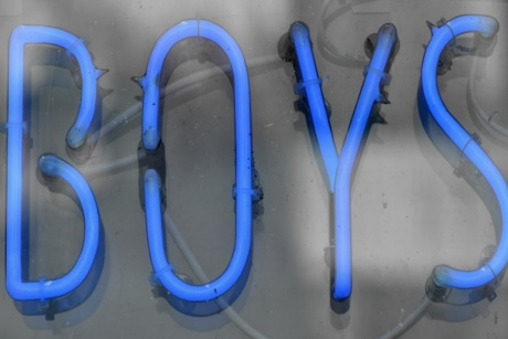 advertising, blue, boys, illuminated, light, light bulb, marketing, neon, sign, text