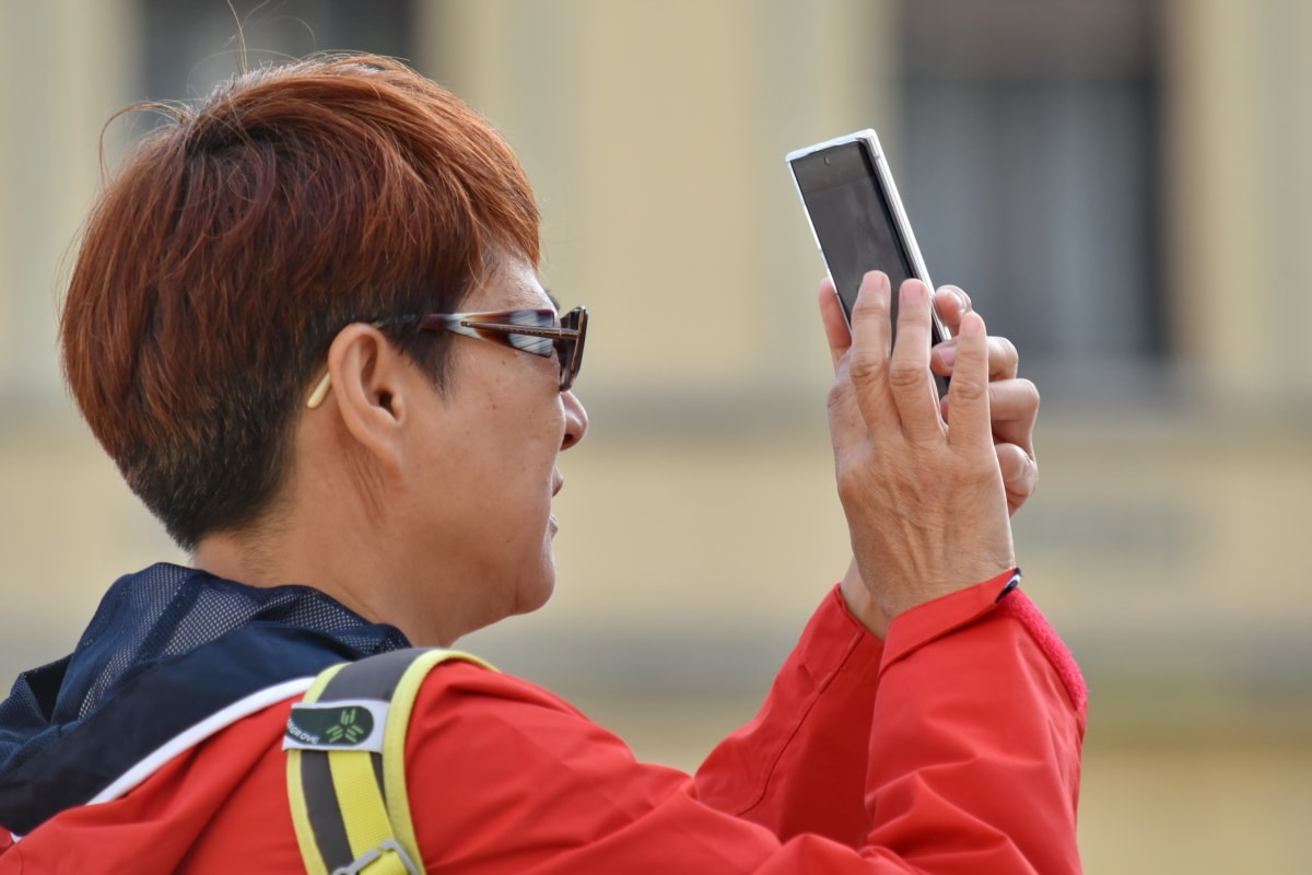 Asian, hairstyle, man, portrait, reddish, side view, tourist, person, people, telephone