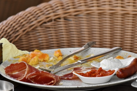 breakfast, cheese, egg yolk, fork, ham, knife, restaurant, meal, plate, lunch