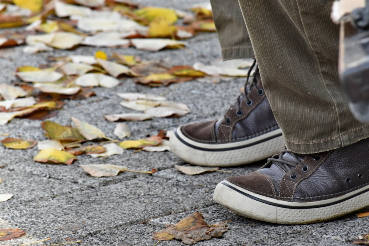 podzimní sezóna, hnědá, obuv, kůže, tenisky, žluté listy, boty, ulice, boty, Krycí