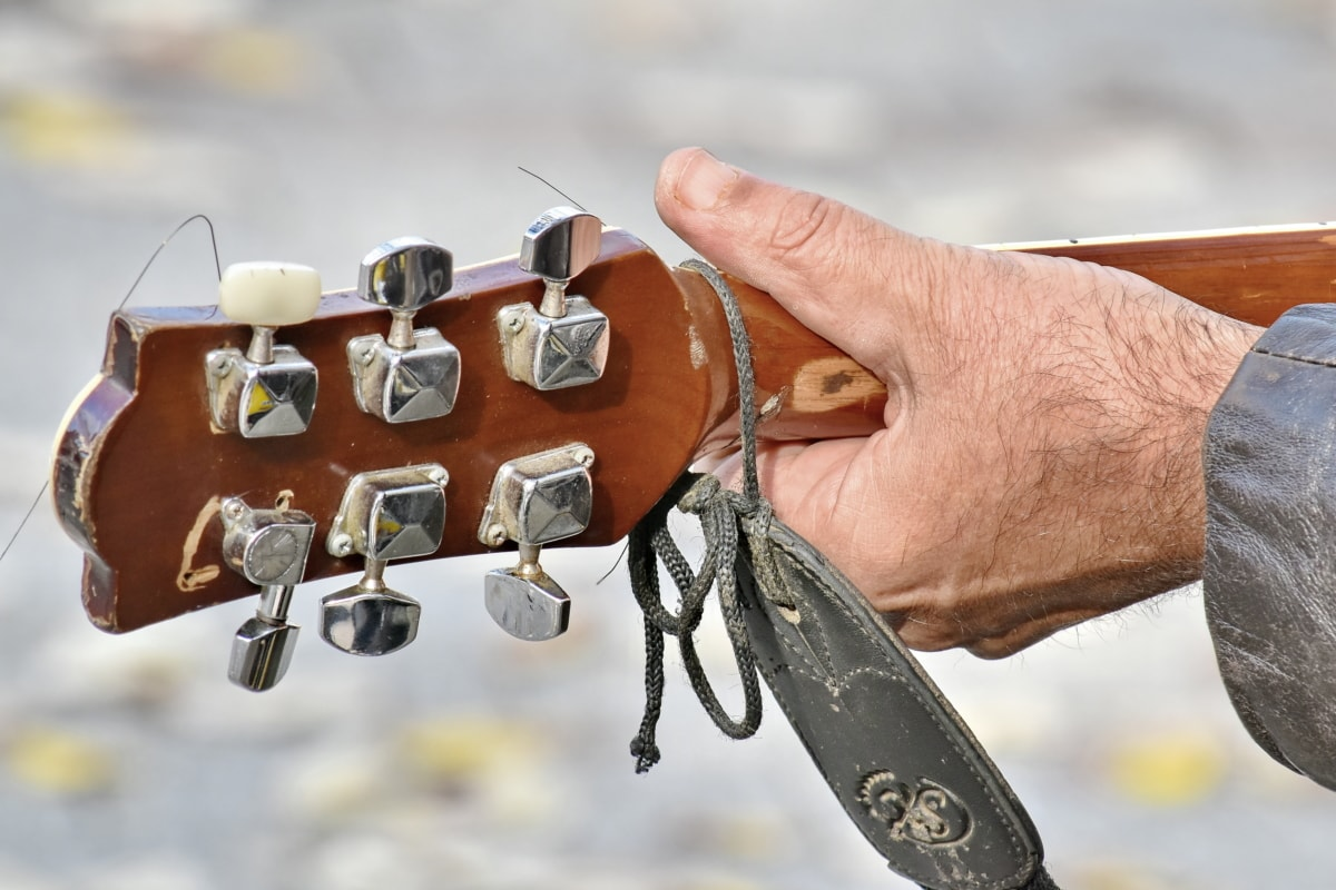 akustisk, fingeren, fingertuppen, gitar, gitarist, hånd, musiker, enheten, mekanisme, håndlaget