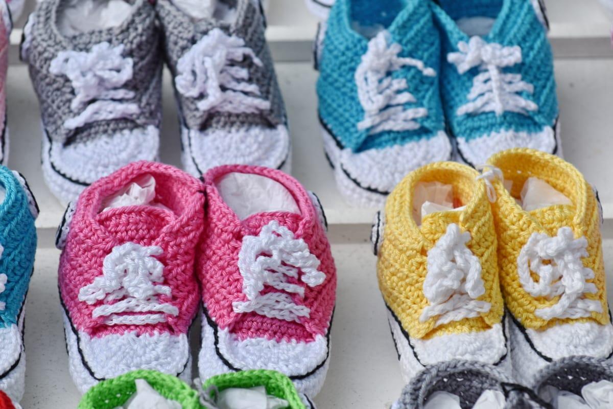 barevné, obuv, ručně vyráběné, pletené zboží, vlna, tenisky, móda, tradiční, pohodlí, Barva