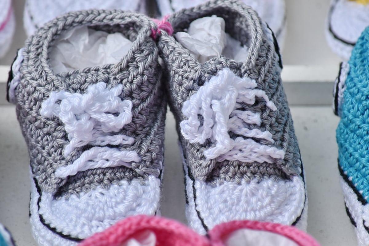fodtøj, grå, håndlavede, hjemmelavet, Strik, miniature, snørebånd, kondisko, mode, uld