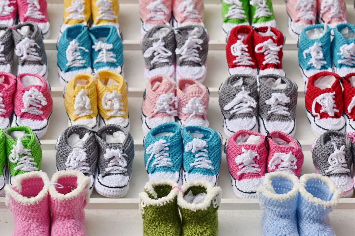 värikäs, jalkineet, Neuleet, Monet, kauppatavara, miniatyyri, ostokset, pieni, lenkkarit, villaa