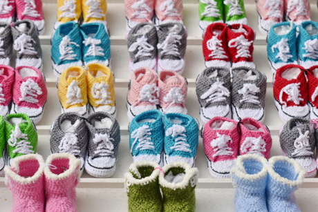 colorful, footwear, knitwear, many, merchandise, miniature, shopping, small, sneakers, wool