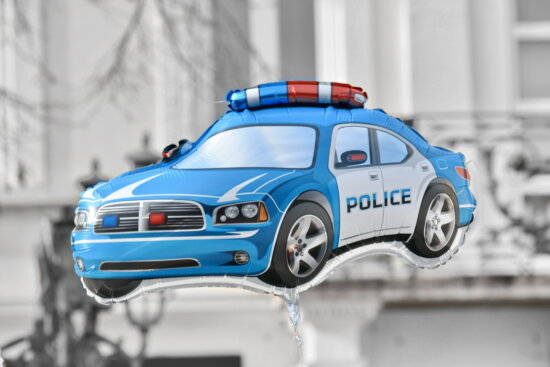 balloon, helium, police, toy, speed, automobile, car, vehicle, modern, model