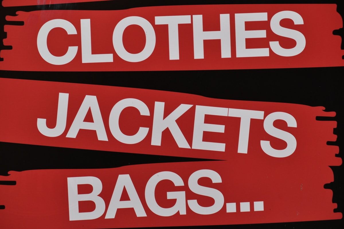advertising, alphabet, bags, clothes, jacket, marketing, sign, symbol, text, business