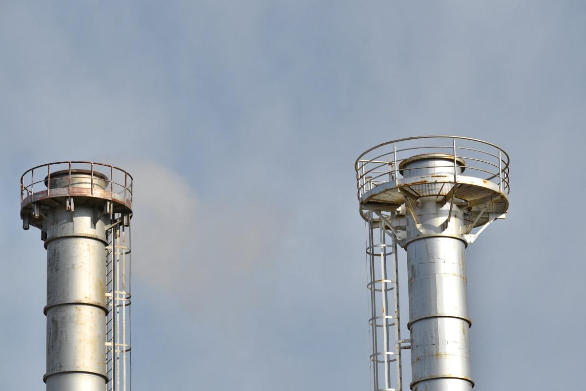 fabrik, industriella, Metallic, pollinering, smog, Röker, tornet, skorsten, industrin, stål
