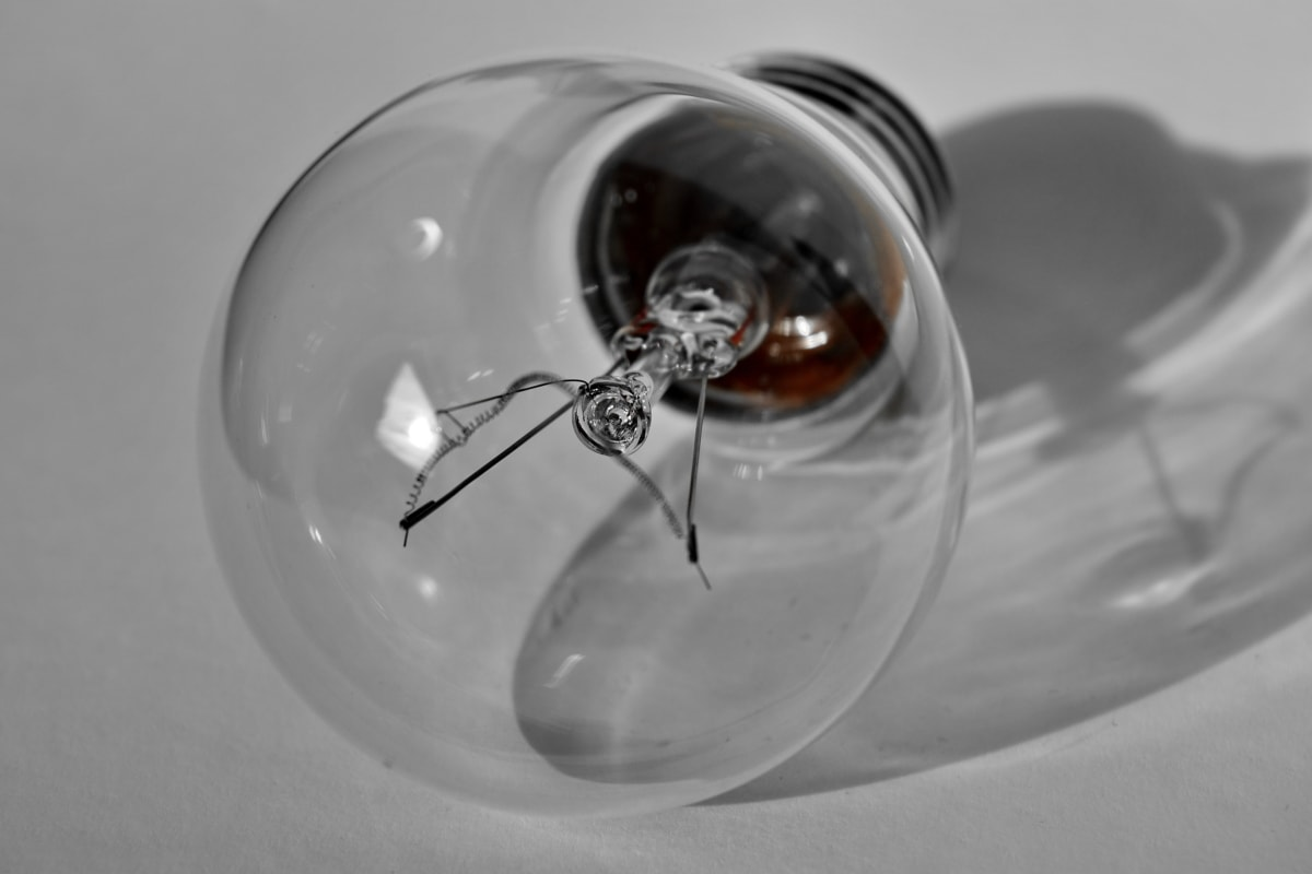 light bulb, shadow, transparent, monochrome, still life, bulb, glass, reflection, electricity, studio