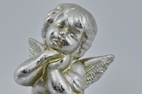 angel, decoration, head, object, reflection, shine, wings, art, sculpture, statue