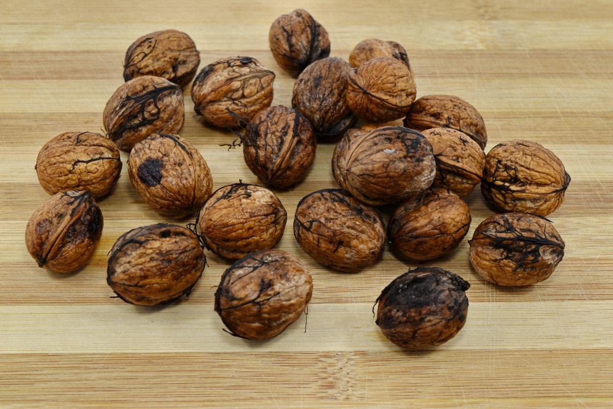 keményfa, sok, szerves, vetőmag, dió, barna, finom, diéta, étrend, száraz