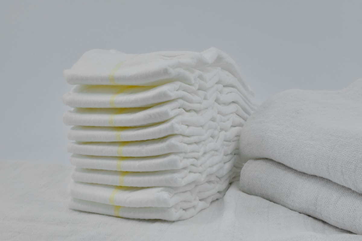 cottage, diaper, hygienic, towel, hygiene, cotton, still life, purity, health, white