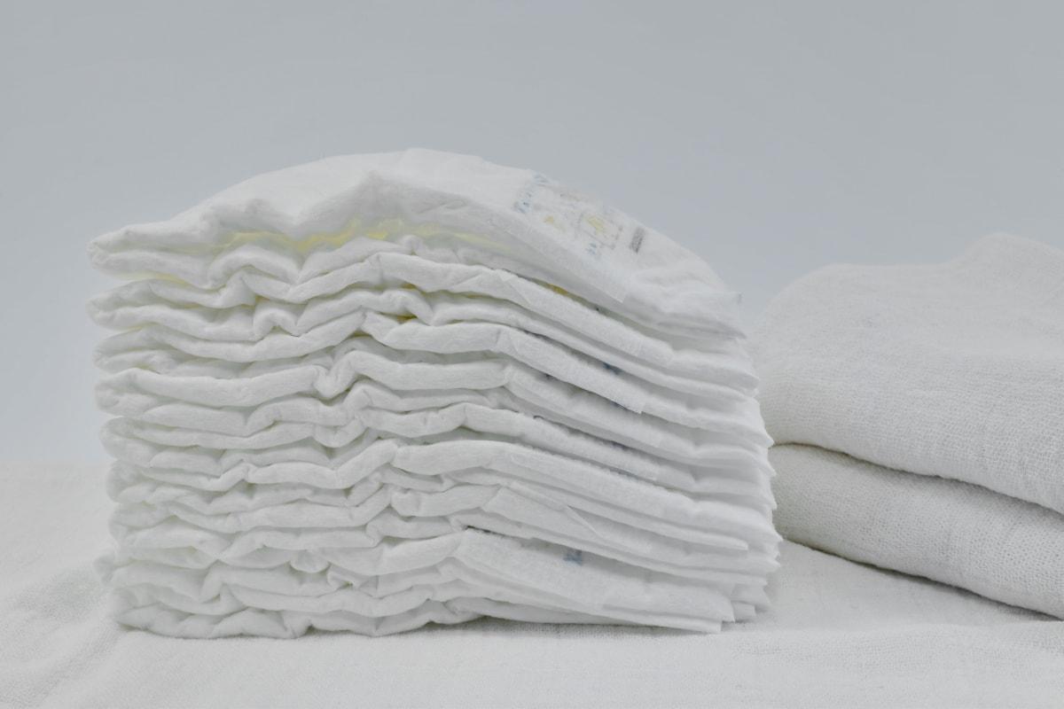 coton, couche-culotte, de nombreux, organique, hygiène, serviette, pile, nature morte, piles, toile