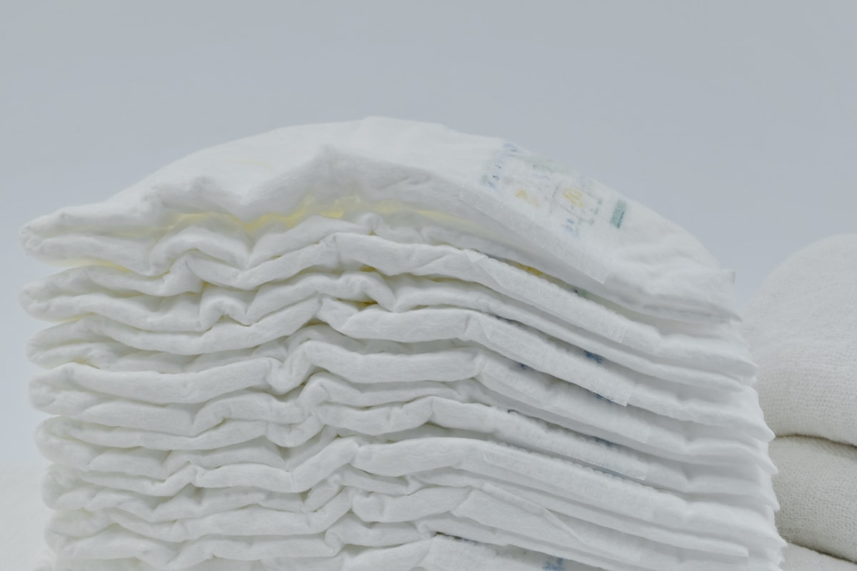 close-up, diaper, hygienic, side view, white, cotton, purity, hygiene, texture, detail