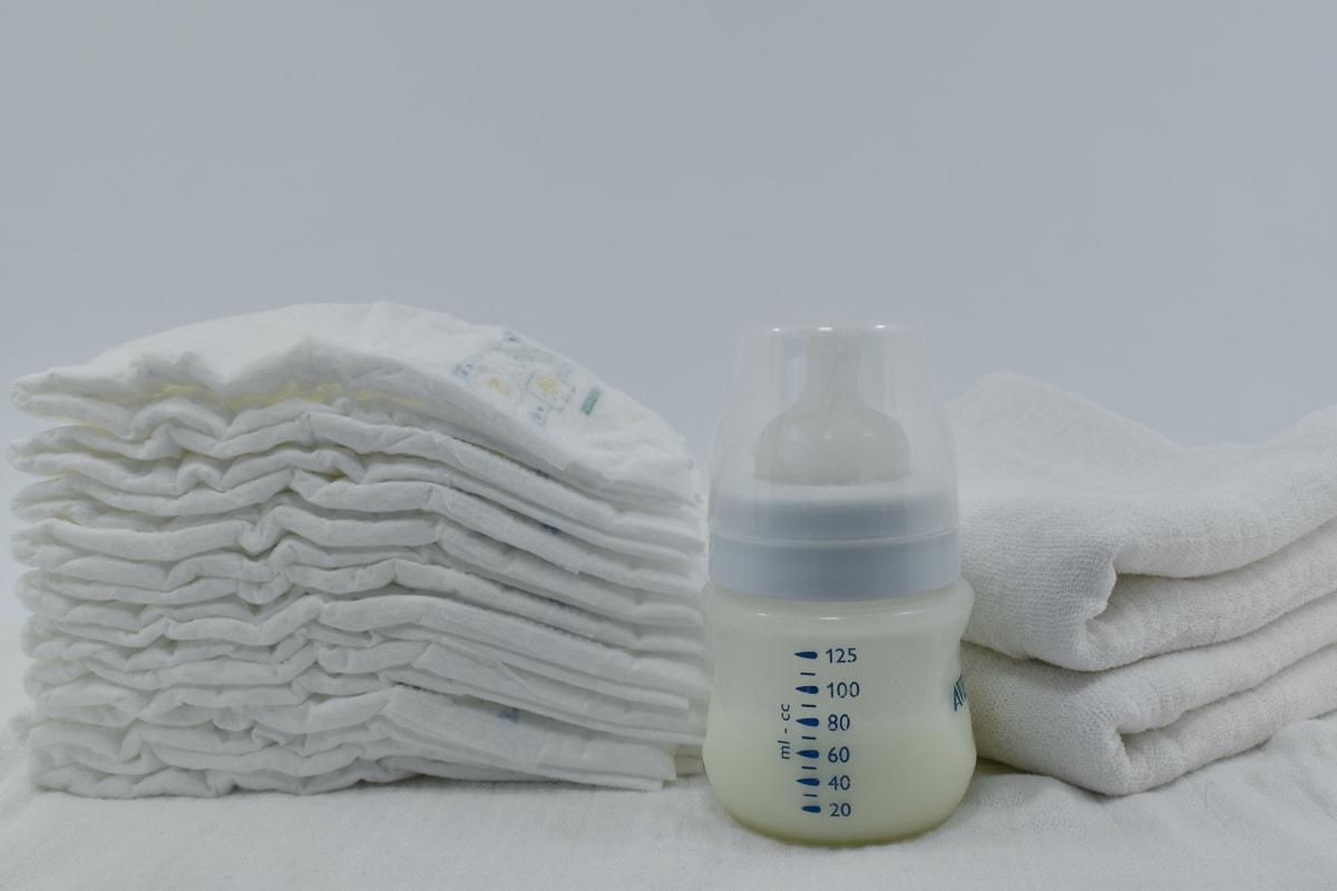 dziecko, pielucha, mleko, butelka, leczenie, Martwa natura, plastikowy, ręcznik, opieka zdrowotna, higiena